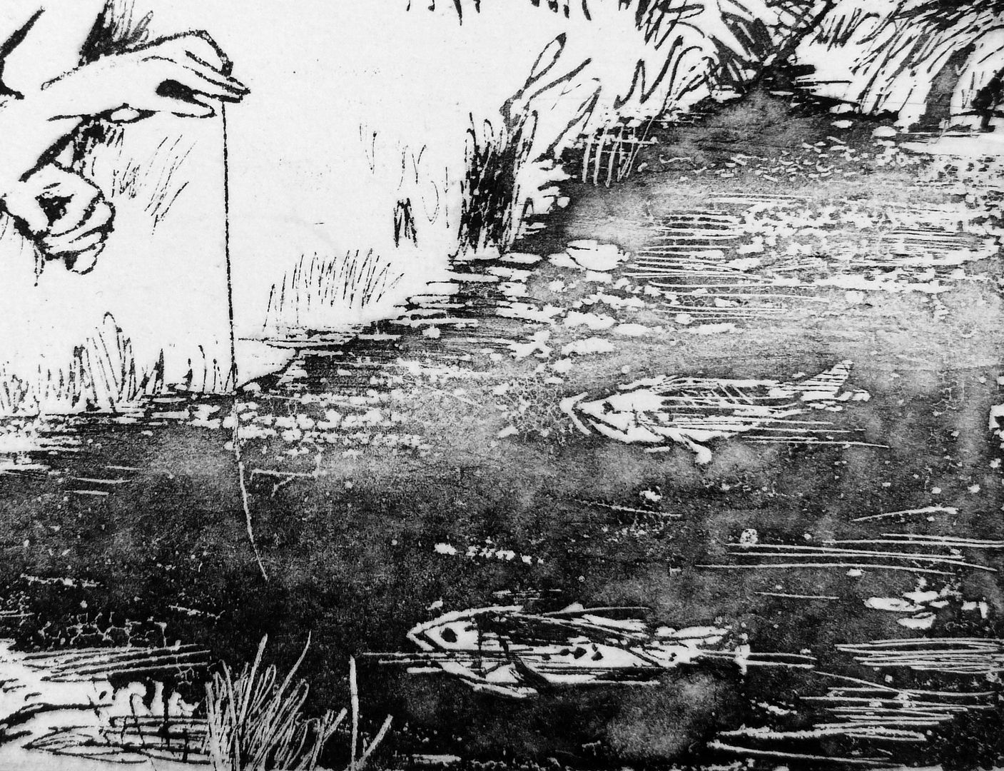 Knabe am Bach Fische im Wasser