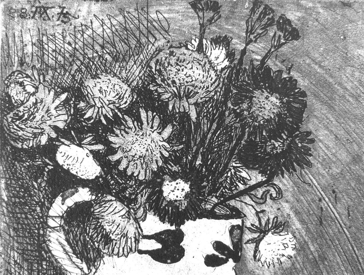 Stillleben mit Selbstportrait Strohblumen