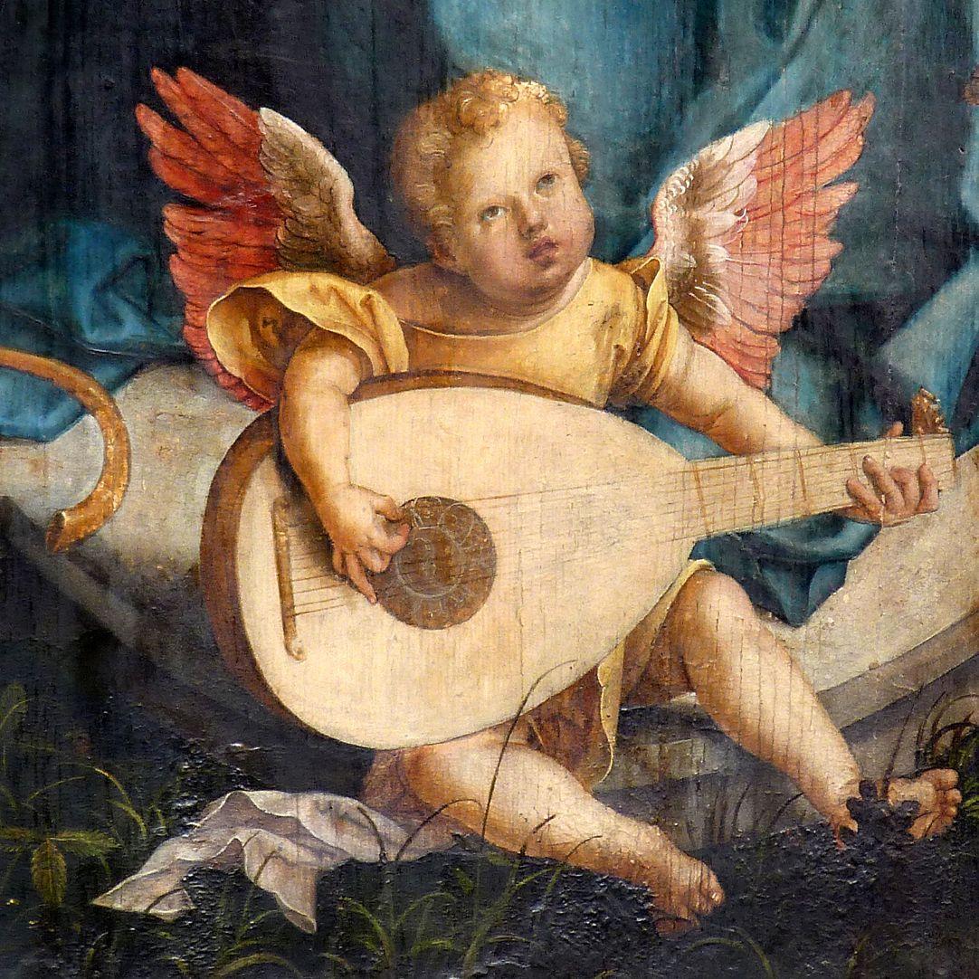 Epitaph für Propst Lorenz Tucher Mitteltafel, Engelkonzert, Engel mit der Laute