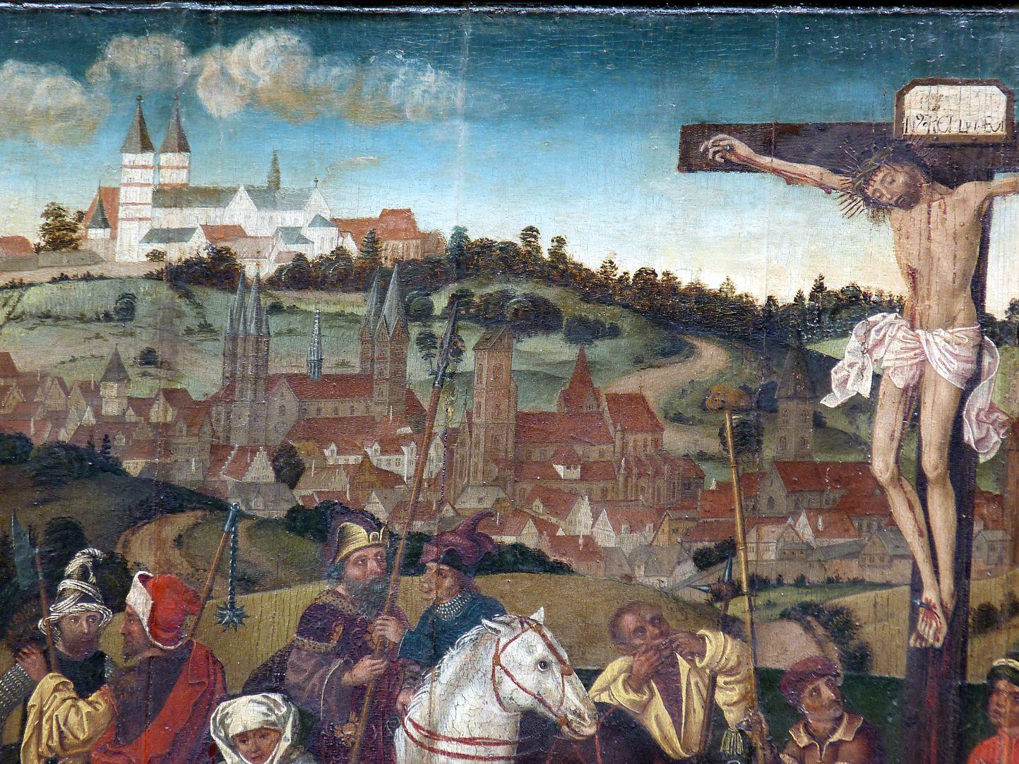 Epitaph für Barbara Tucher Panorama der Stadt Bamberg links vom Gekreuzigten mit  (von oben nach unten) Michaelsberg, Dom und Obere Pfarre
