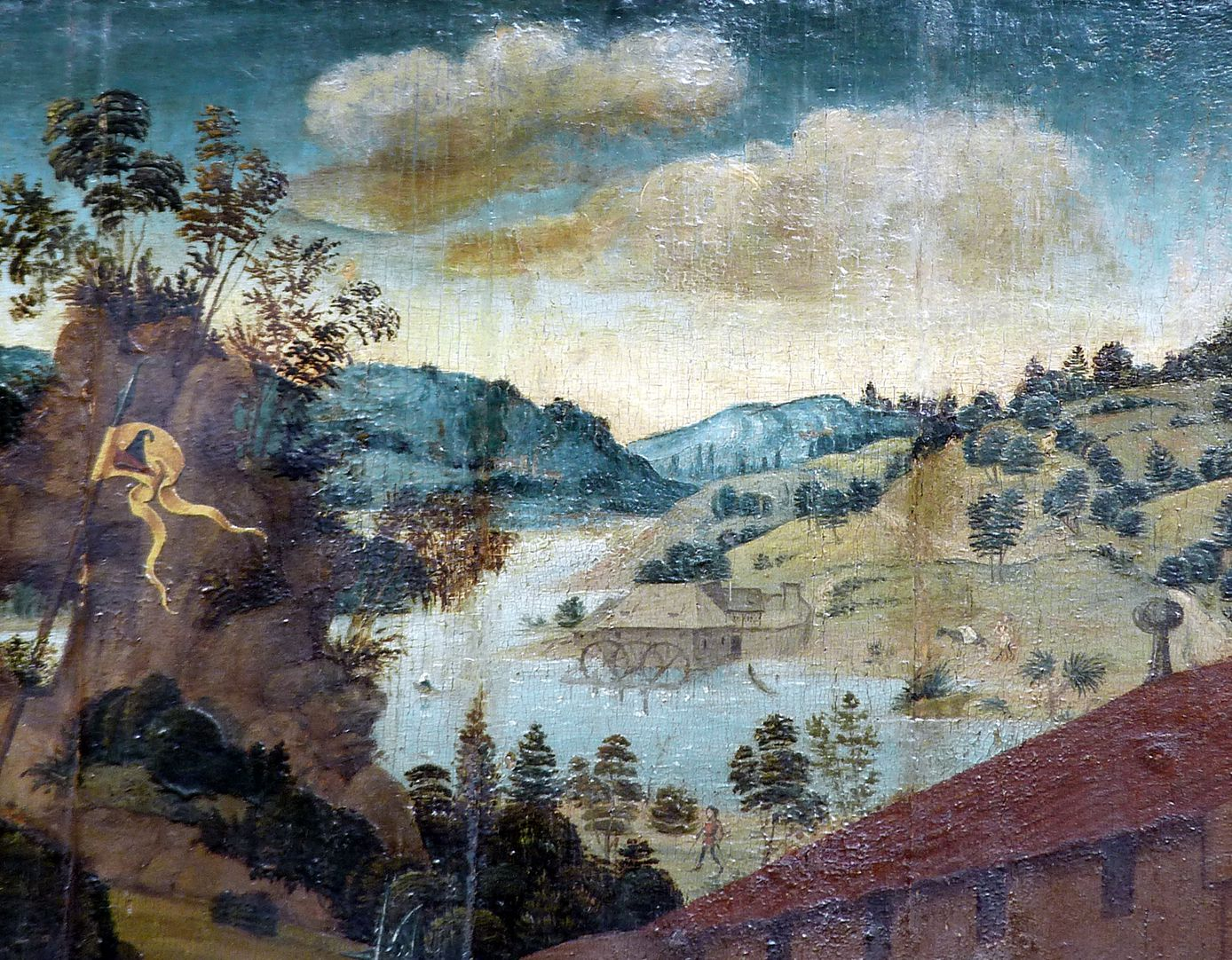 Epitaph für Barbara Tucher Hintergrund mit Landschaft