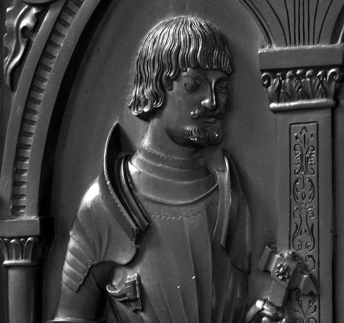 Epitaph der Walburga von Schaumberg und ihres Gemahls, Sebastian Portrait des Sebastian, Detail