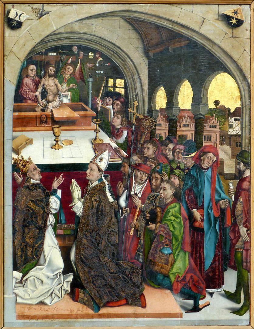 Epitaph des Hans Mayer (gest. 21.8.1473) und Ehefrau Kunigunde, geborene Sternecker (gest. 23.3.1450) Gesamtansicht: linker Zwickel Wappen Mayer, rechter Zwickel Wappen Sternecker