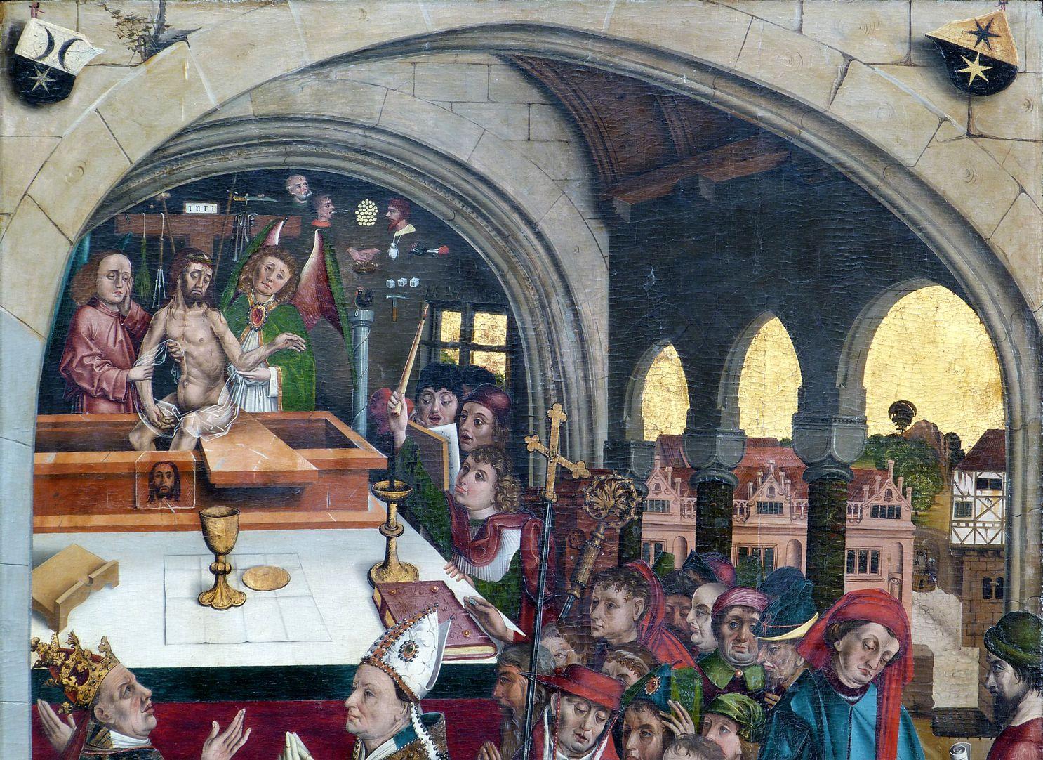 Epitaph des Hans Mayer (gest. 21.8.1473) und Ehefrau Kunigunde, geborene Sternecker (gest. 23.3.1450) obere Tafelhälfte
