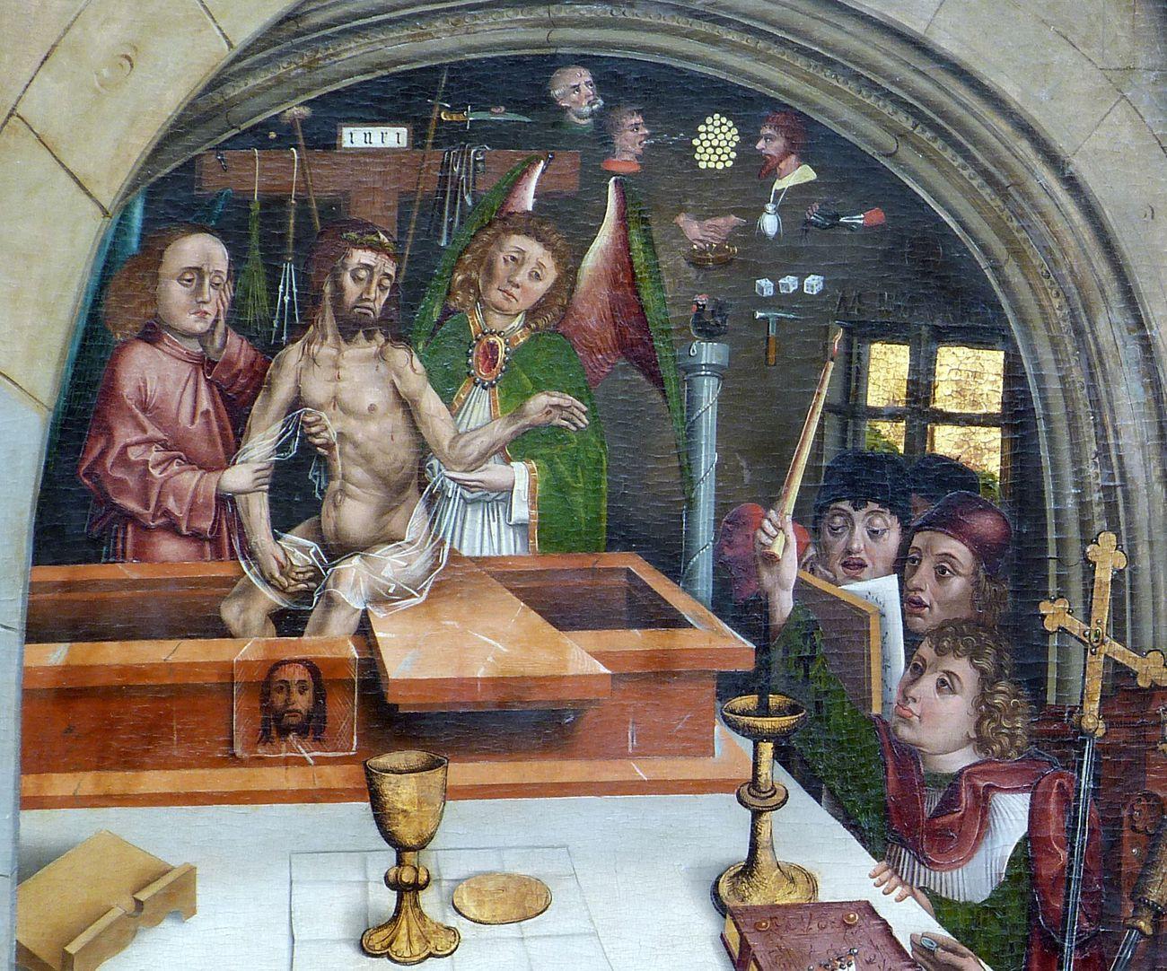 Epitaph des Hans Mayer (gest. 21.8.1473) und Ehefrau Kunigunde, geborene Sternecker (gest. 23.3.1450) Christus erscheint aus dem Grab, von Engeln gehalten