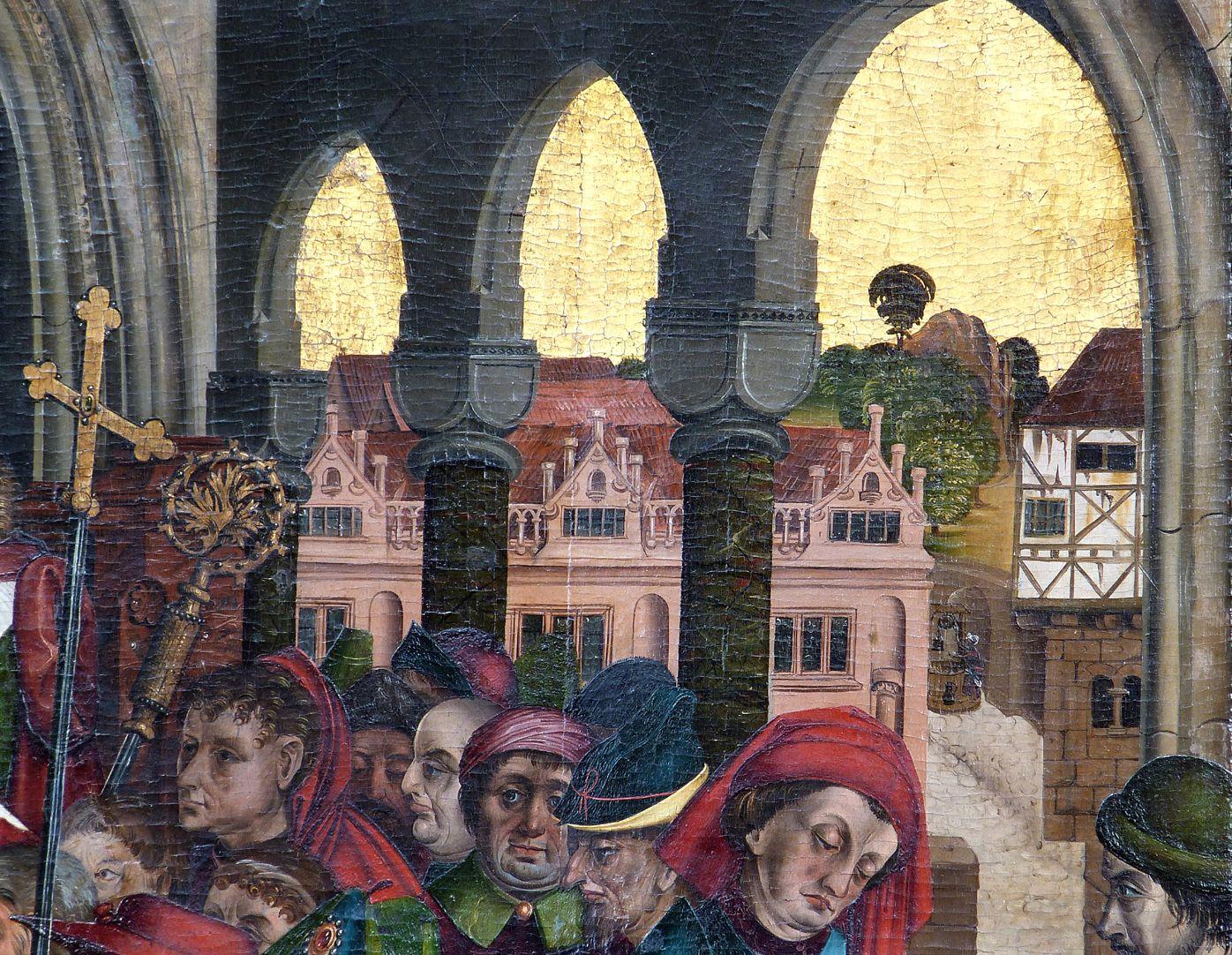 """Epitaph des Hans Mayer (gest. 21.8.1473) und Ehefrau Kunigunde, geborene Sternecker (gest. 23.3.1450) Detail mit dem """"alten Zustand"""" des Grolandschen Anwesens am Egidienberg"""
