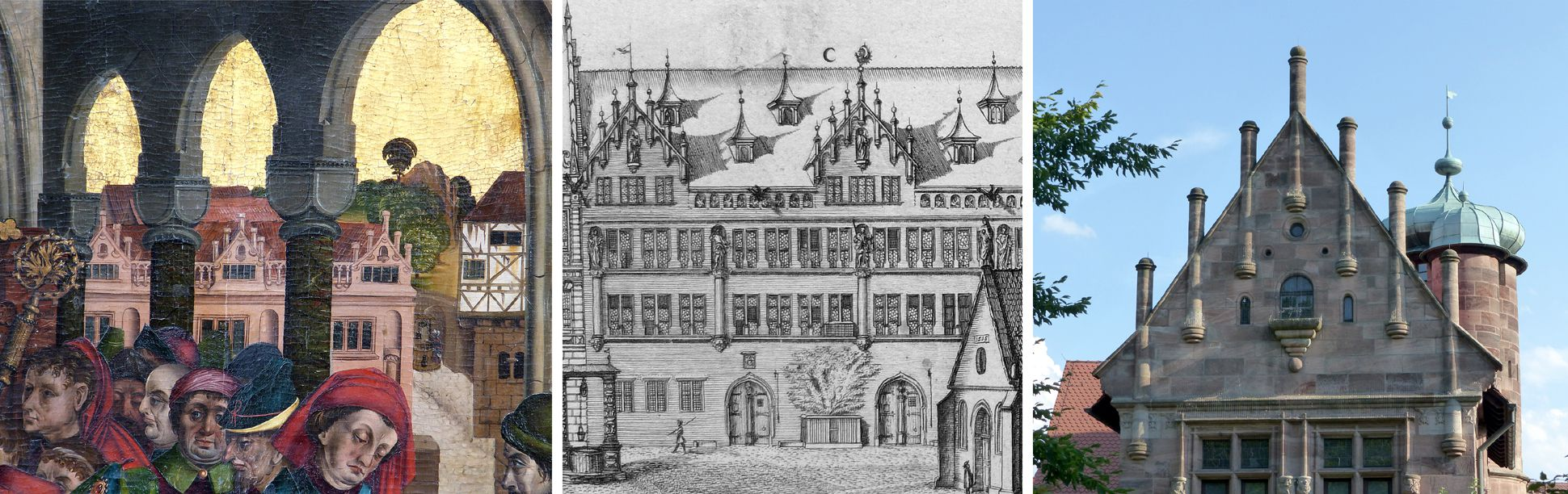 Epitaph des Hans Mayer (gest. 21.8.1473) und Ehefrau Kunigunde, geborene Sternecker (gest. 23.3.1450) links: Blick auf das Grolandsche Anwesen (Egidienberg); Mitte: Graffs Darstellung desselben Motivs (1682); rechts: Giebel des Tucherschlösschens (1533-1544)