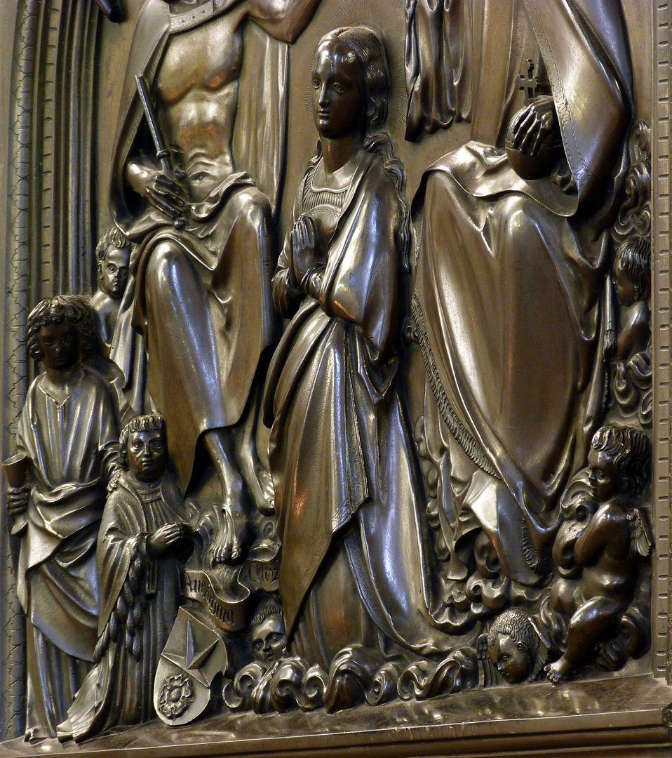 Epitaph des Propstes Henning Göden (gest. 1521) Schrägansicht mit unterer Hauptszene