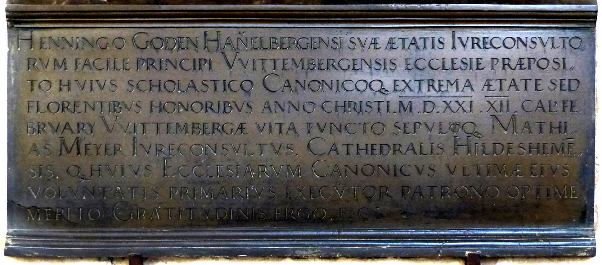 Epitaph des Propstes Henning Göden (gest. 1521) unteres Drittel mit Hauptinschrift