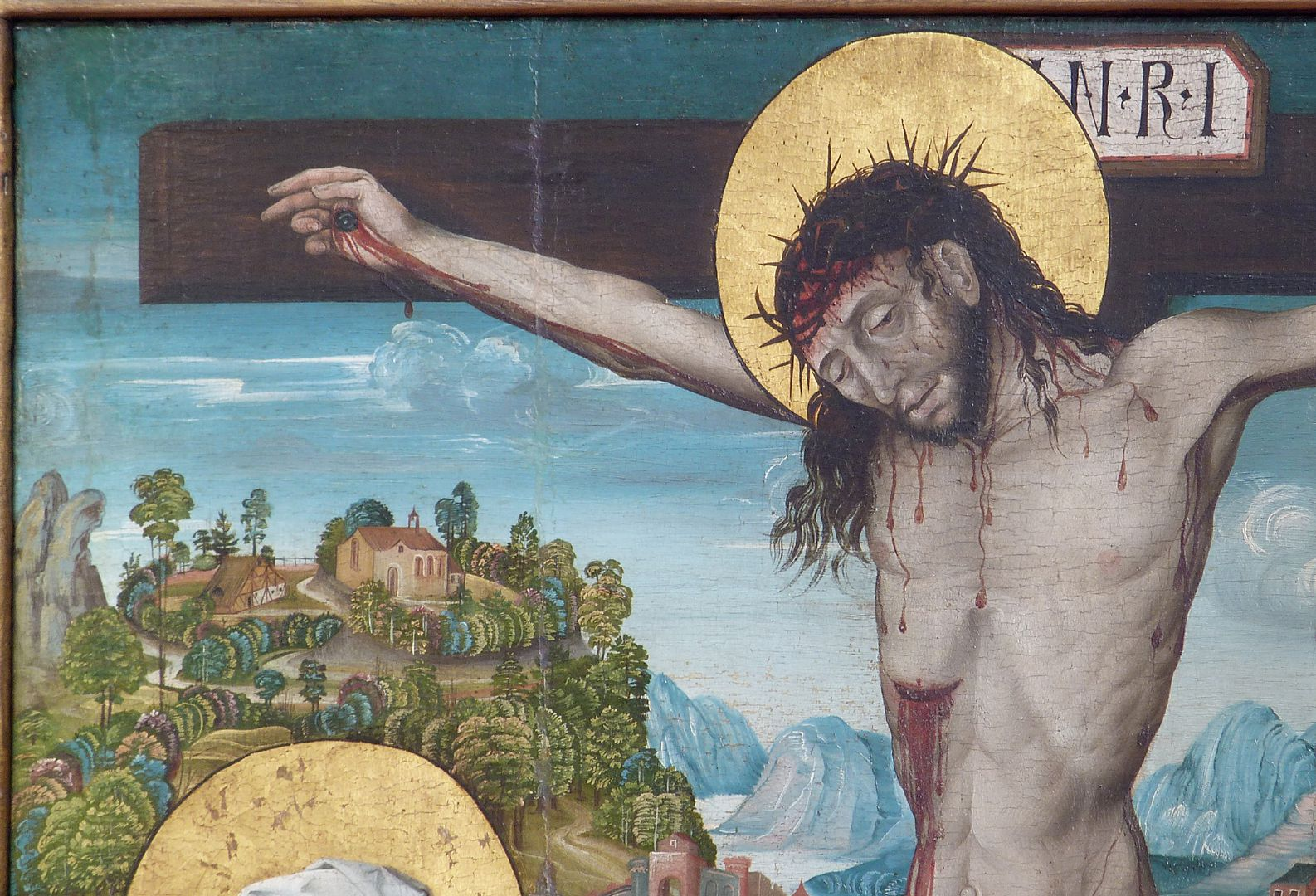 Kreuzigung Christi obere linke Bildhälfte