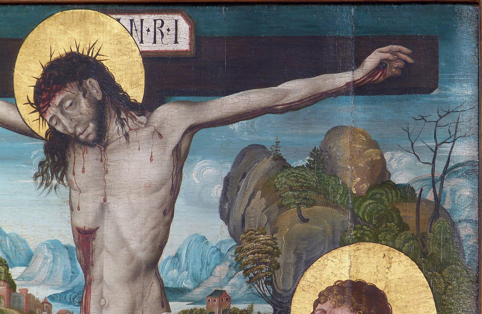 Kreuzigung Christi obere rechte Bildhälfte