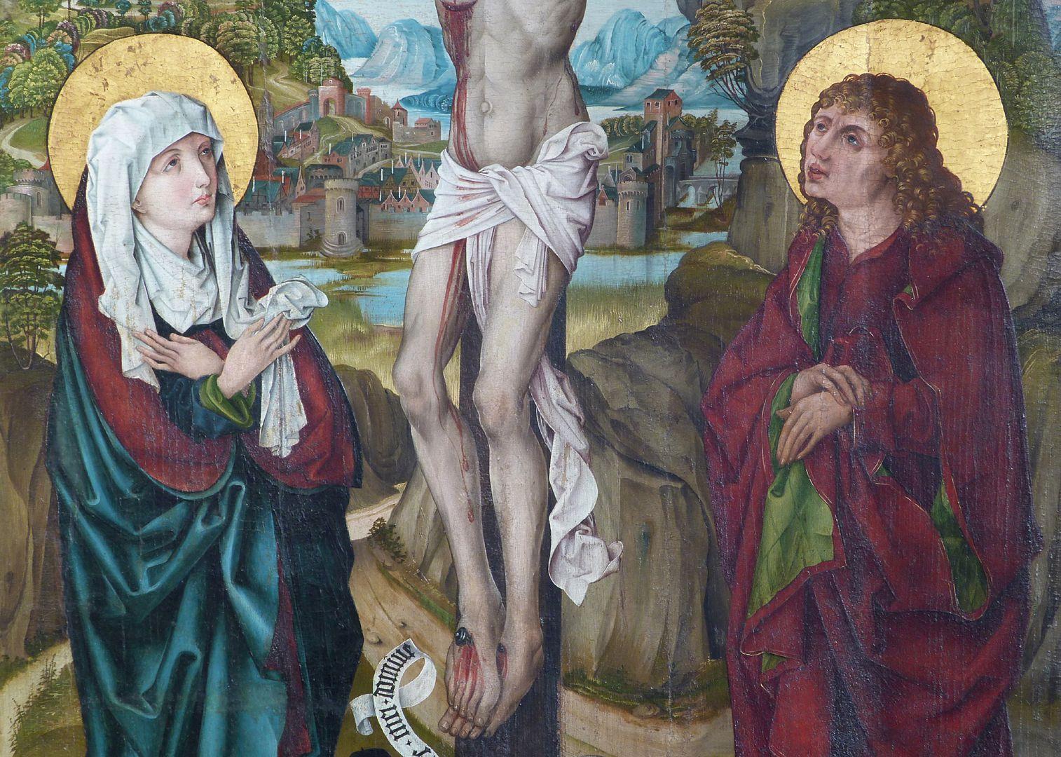Kreuzigung Christi Bildmitte mit Maria und Johannes