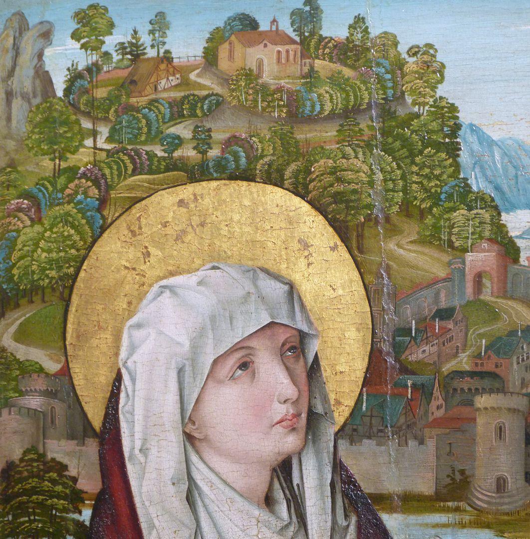 Kreuzigung Christi linke Bildhälfte, Kopf der Maria und Bildhintergrund mit Architekturen