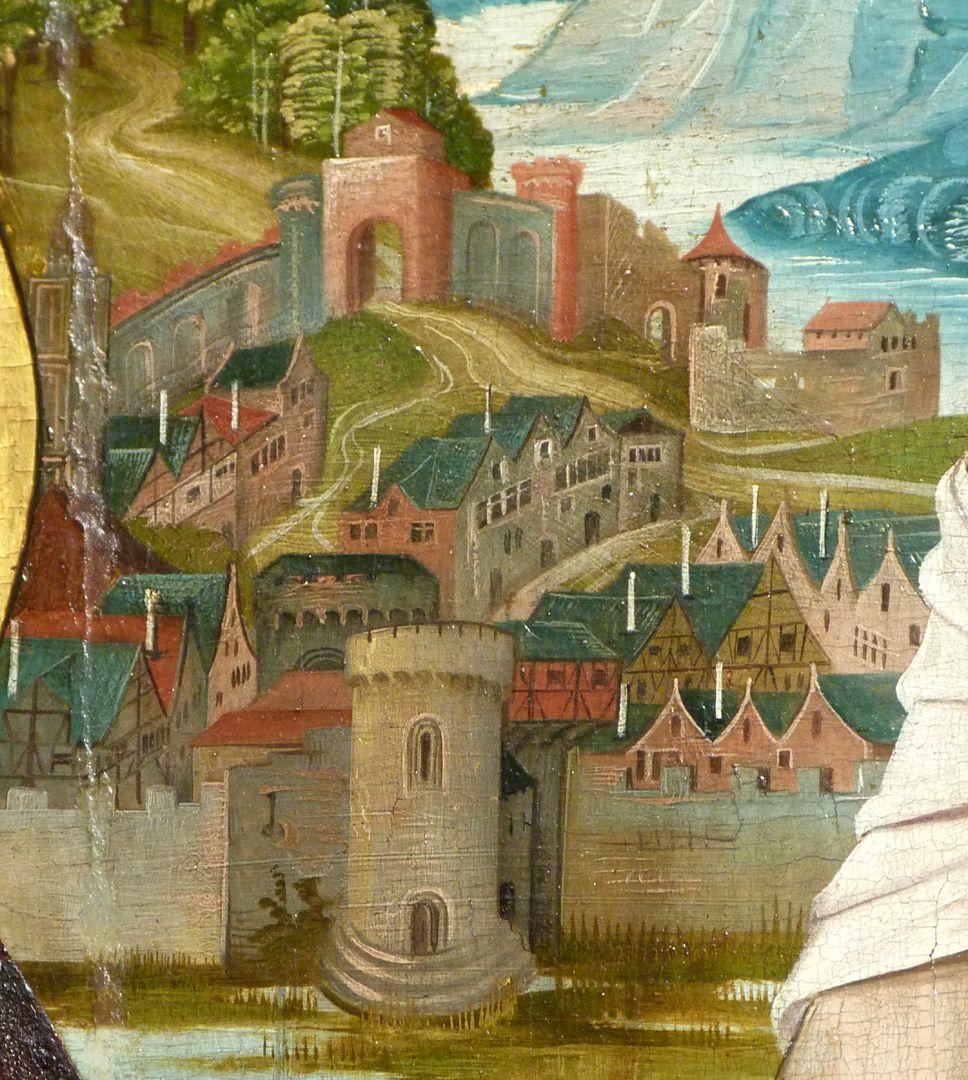 Kreuzigung Christi linke Bildhälfte, Detail des Bildhintergrundes mit Architekturen