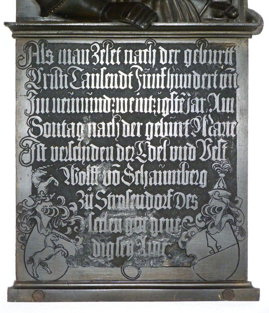 Epitaph des Wolf von Schaumberg Innschrifttafel