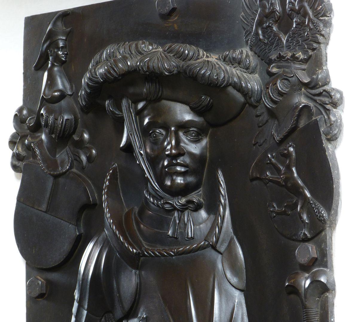 Epitaph des Wolf von Schaumberg (Lichtenfels) Gesicht in Frontalansicht