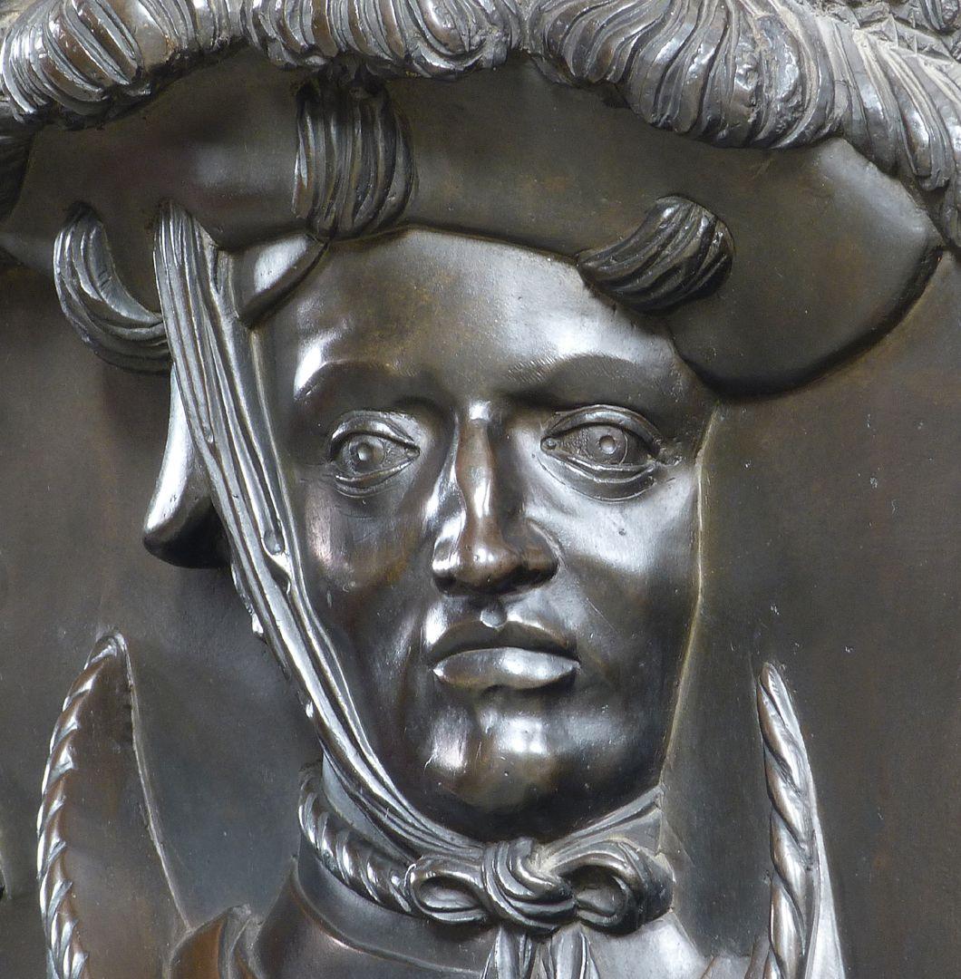 Epitaph des Wolf von Schaumberg (Lichtenfels) Gesicht in Frontalansicht, Detail, (man beachte die Veit-Stoßchen-Züge)