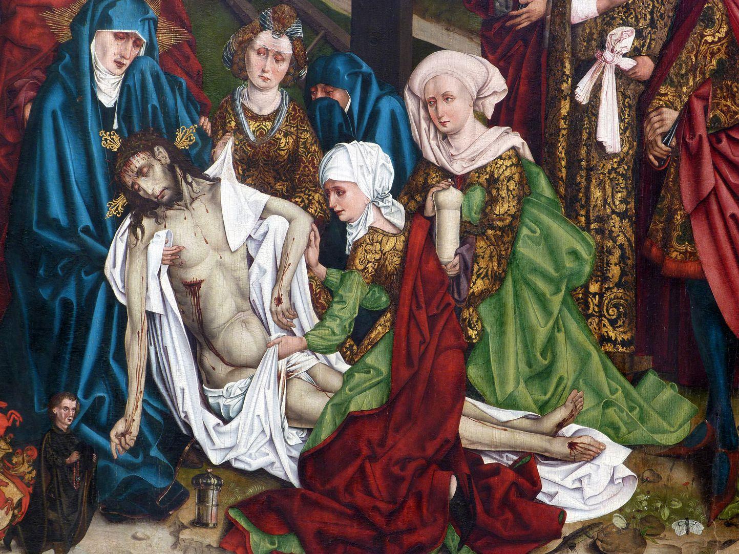 Epitaph für Georg Keyper Beweinungsgruppe, links die Mutter Maria, dann drei Marien: Salome, Kleophas und Magdalena mit dem Ölgefäß. Unbekannte trauernde Gestalt im Hintergrund. Links unten die Stifterfigur Keypers.