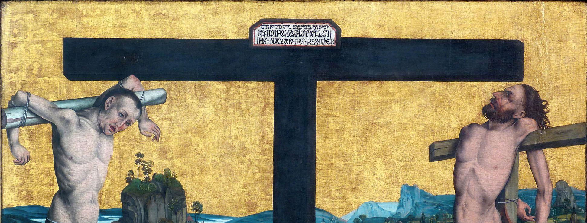 Epitaph für Georg Keyper Kreuz mit Inschrift, links Dismas, rechts Gismas