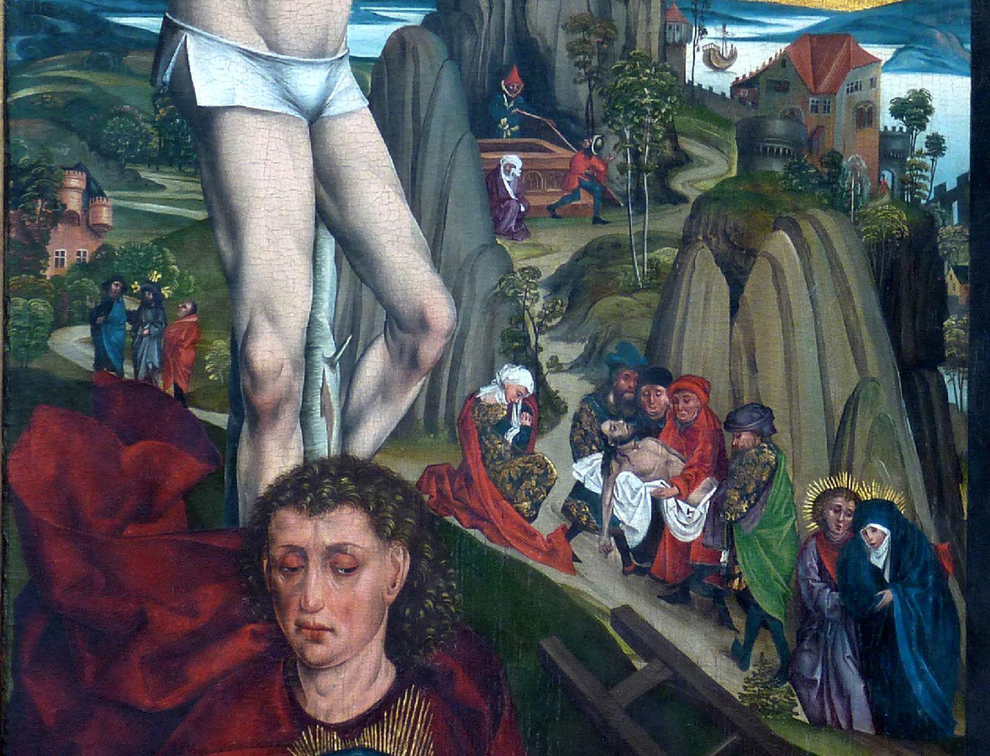 Epitaph für Georg Keyper Detail Dismas, darunter Johannes, im Hintergrund wird der Leichnam zu Grabe getragen