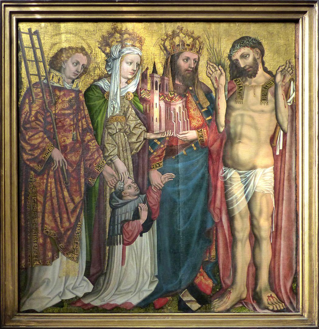 Epitaph für Johannes von Ehenheim Gesamt, von l. nach r.: hl. Laurentius,  Kaiserin Kunigunde zu ihren Füßen der Stifter, Kaiser Heinrich und Erbärmdechristus.