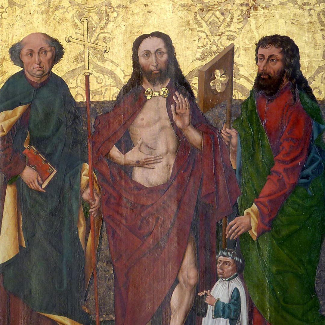 Schmerzensmann zwischen den Heiligen Philippus und Jakobus Minor obere Bildhälfte
