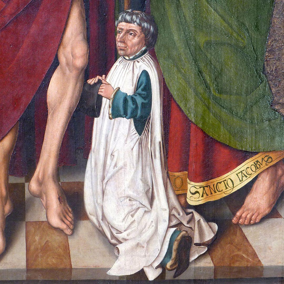 Schmerzensmann zwischen den Heiligen Philippus und Jakobus Minor Stifterfigur