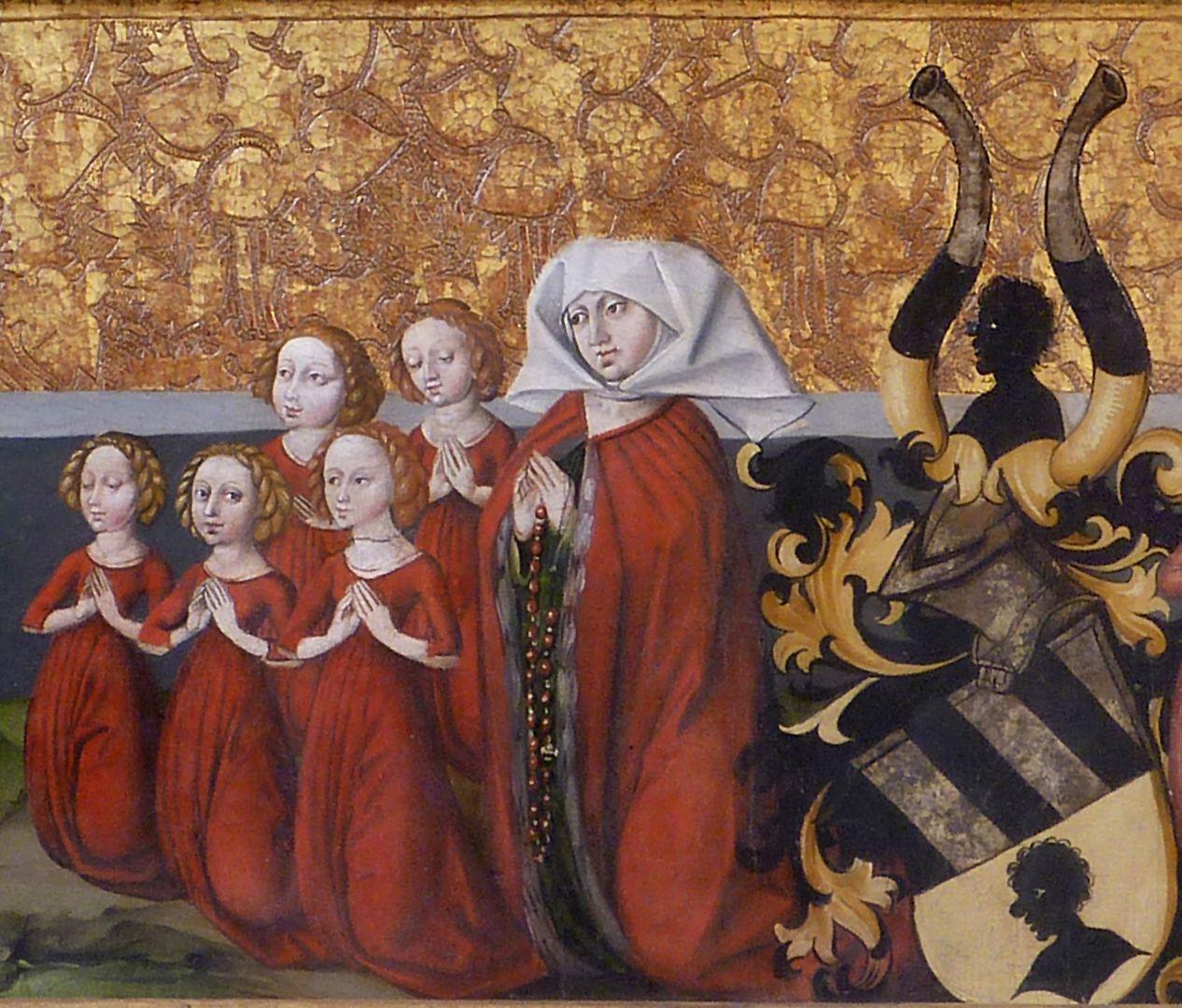 Himmelfahrt Christi Anna Tucher, seit dem 25.7.1476 die zweite Ehefrau von Sigmund Fürer, mit ihren Töchtern und dem Tucherwappen