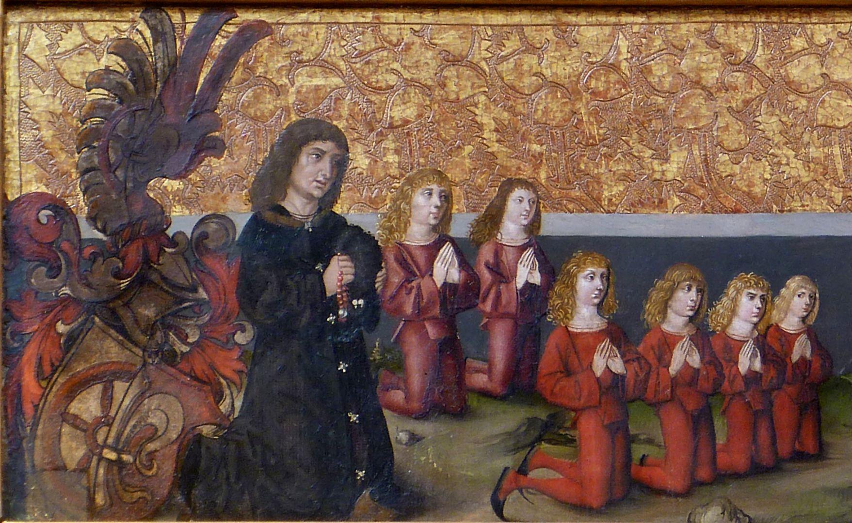 Himmelfahrt Christi Sigmund Fürer mit seinem Wappen und den Söhnen aus erster und zweiter Ehe