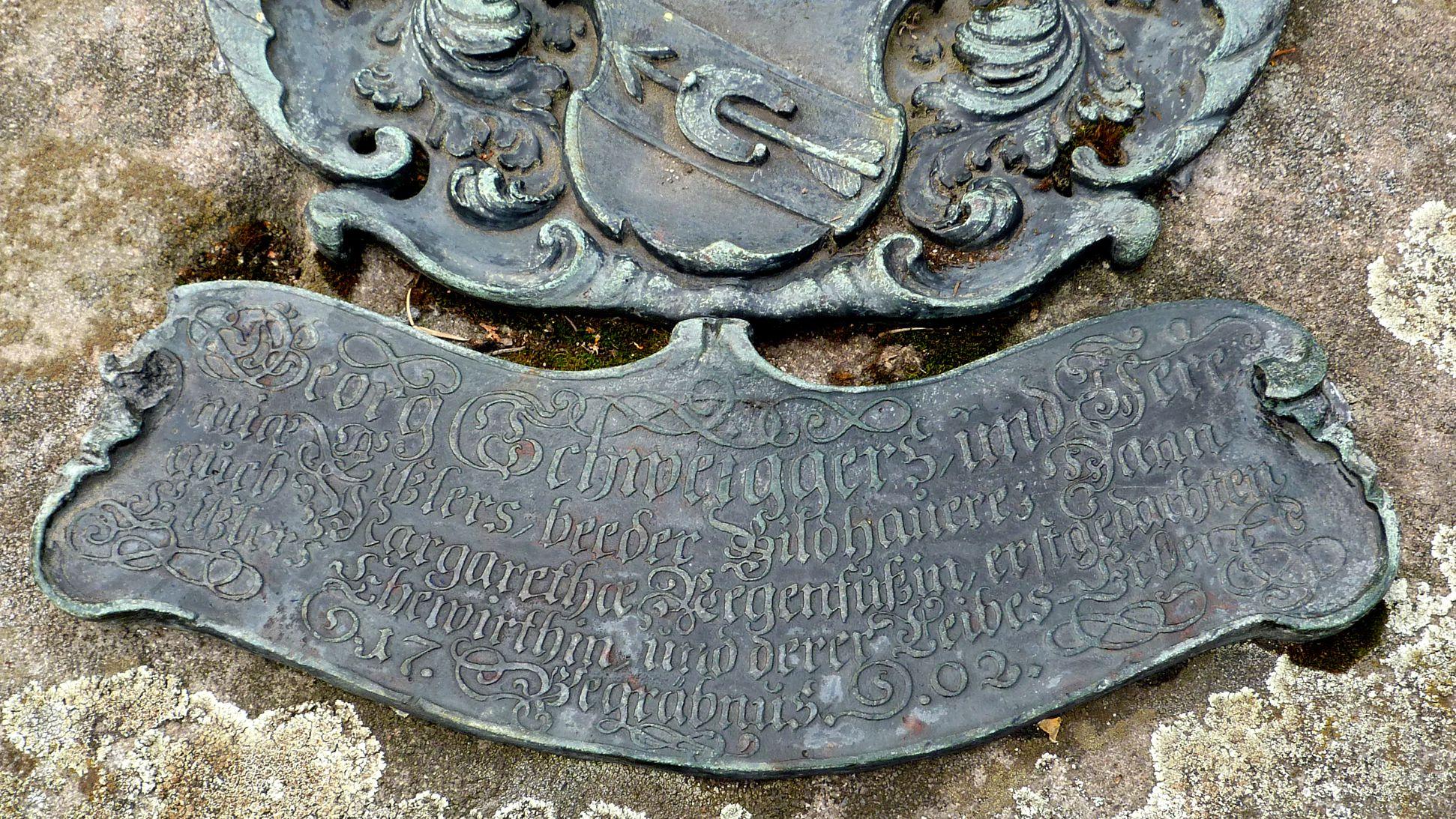 Epitaph von Georg Schweigger, Jeremias Eissler und Margaretha Regenfuss Inschrift
