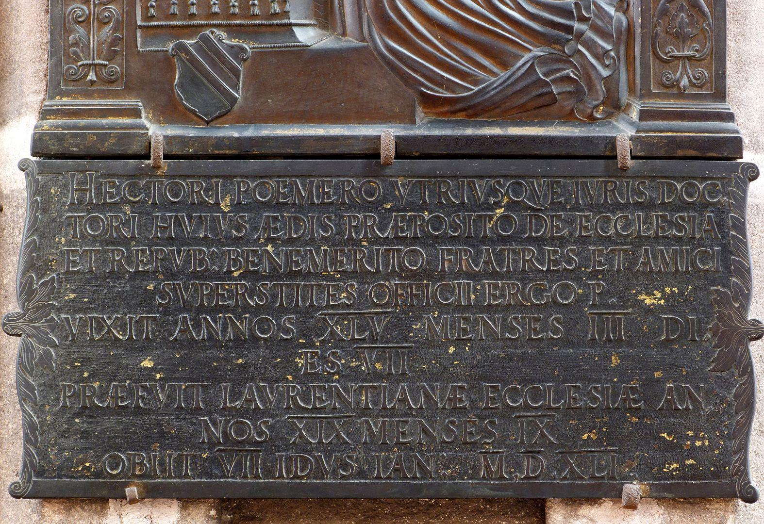 Epitaph für Dr. Hector Pömer d.J. Inschrift