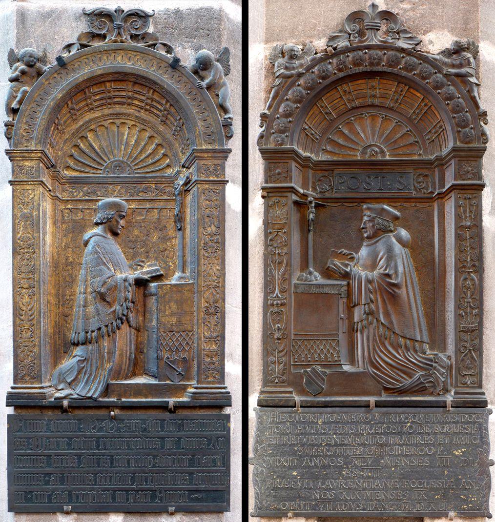 Epitaph für Dr. Anton Kress links: Das Epitaph von Dr. Anton Kress, rechts: als Gegenüber am zweiten südlichen Pfeiler das Epitaph Hector Pömers von 1541