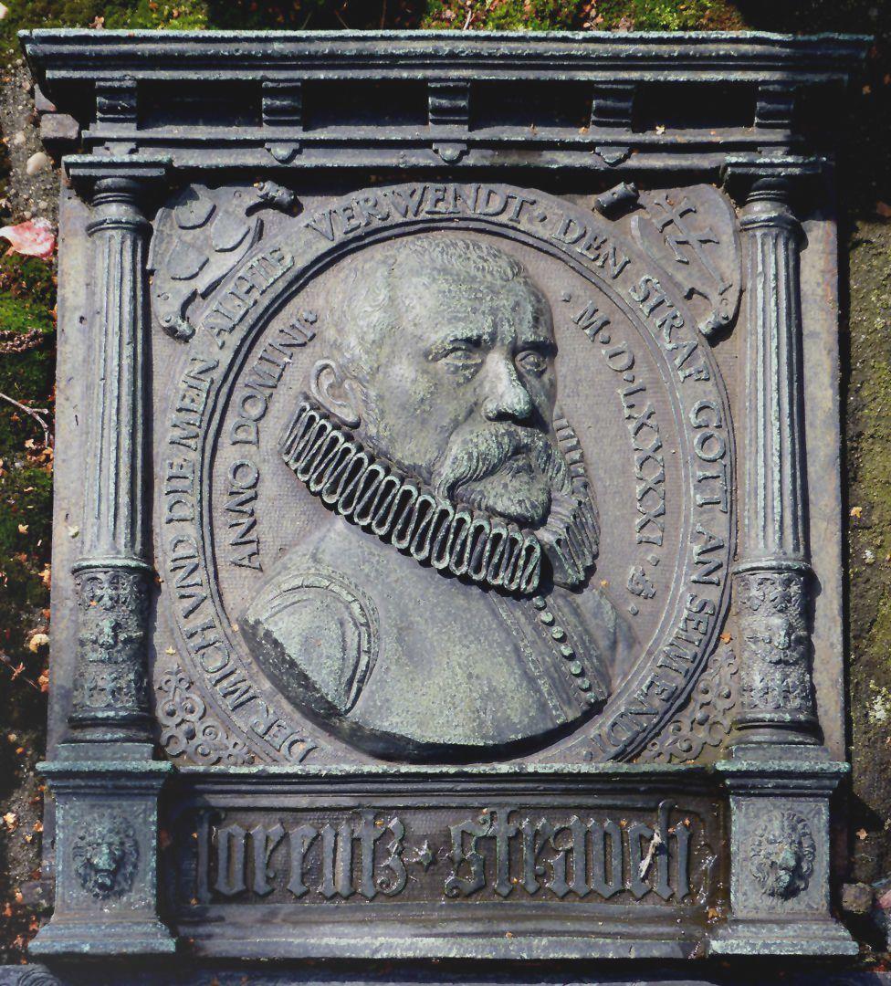 Rochusfriedhof<p>mit seinem Portrait aus dem Jahr 1591, Malerwappen und Hausmarke<br></p>