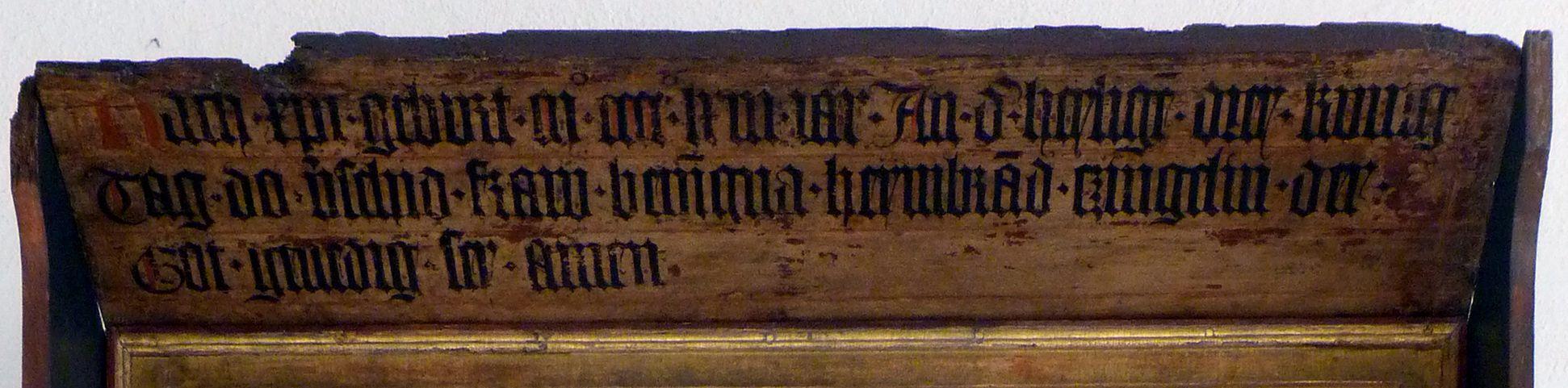 Epitaph der Benigna Holzschuher Vordach mit Inschrift