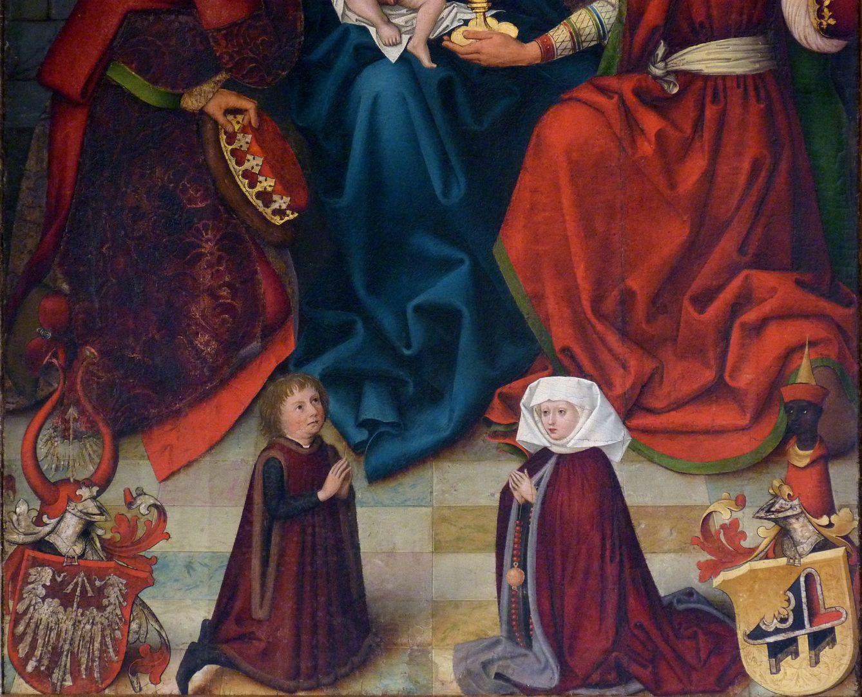 Epitaph der Benigna Holzschuher untere Bildhälfte mit Stifterehepaar und Wappen
