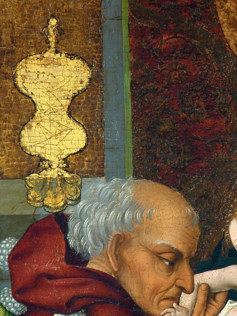 Epitaph der Benigna Holzschuher Detail mit Goldgefäß und altem König