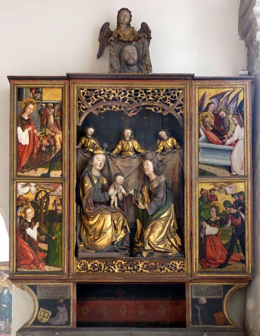 Katharinenaltar in St. Egidien Gesamtansicht mit geöffneten Schrank, darüber Engel mit Schweißtuch (Ton?) gegen 1450