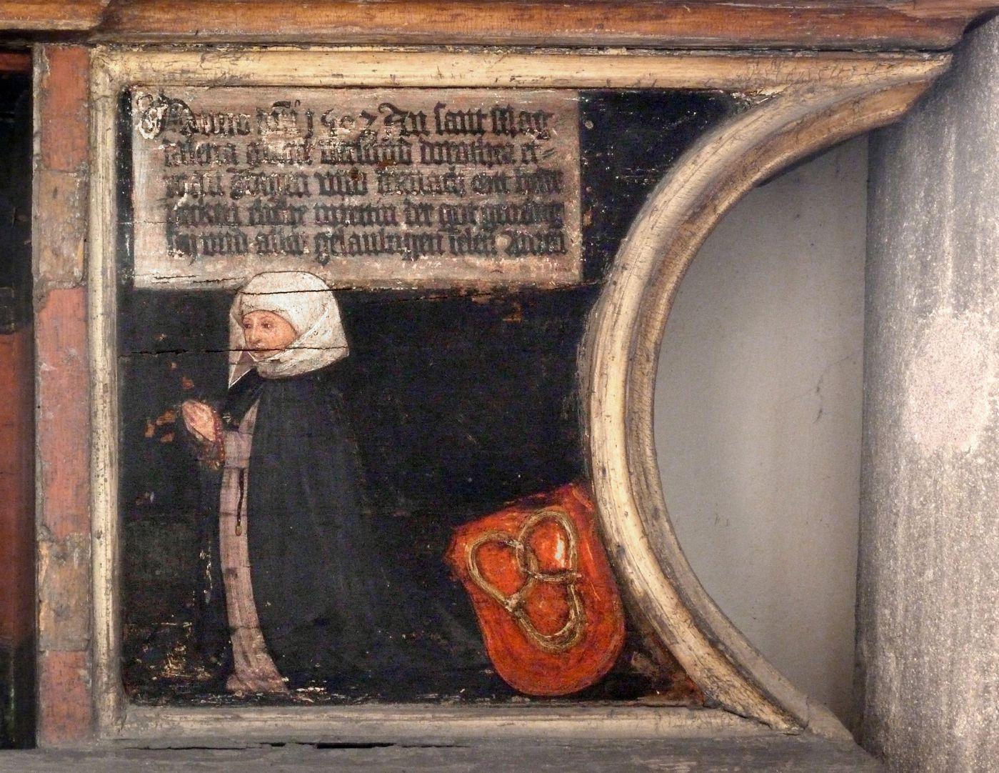 Katharinenaltar in St. Egidien Predella, Stifterin Dorothea Beck