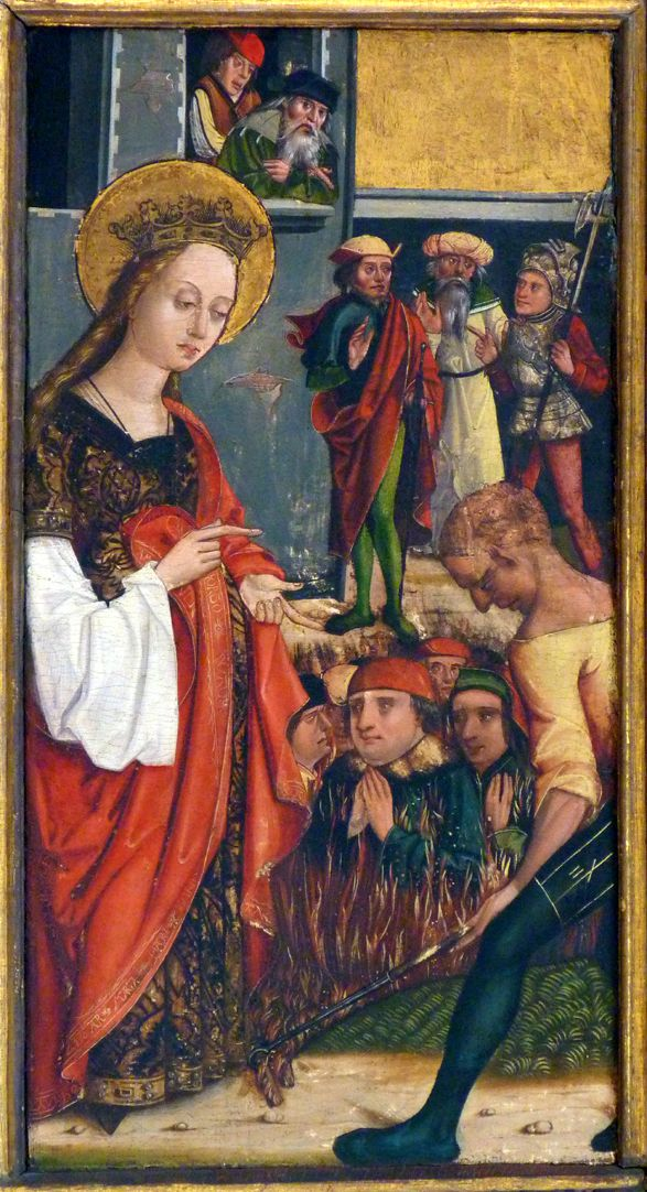 Katharinenaltar in St. Egidien linke Flügelinnenseite oben, Verbrennung der Philosophen