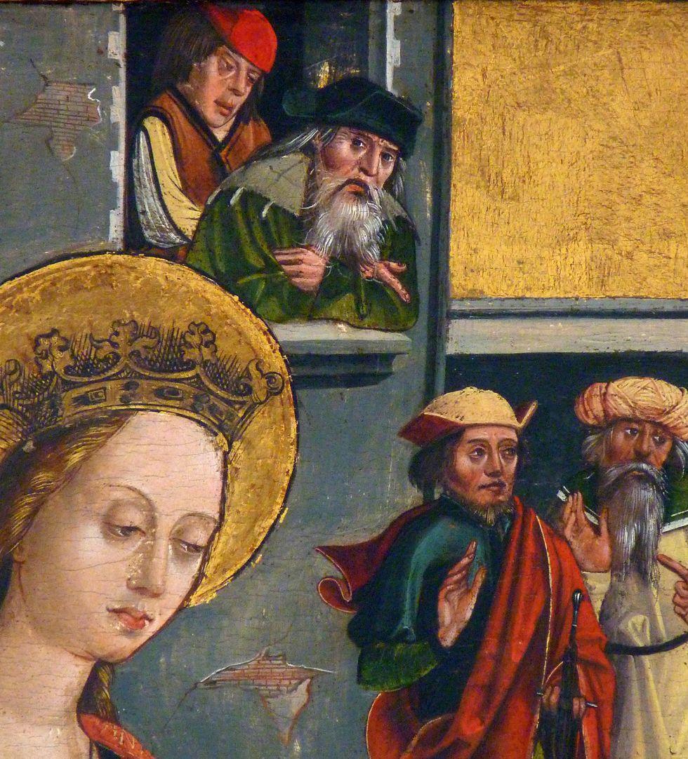 Katharinenaltar in St. Egidien Verbrennung der Philosophen, Detail mit Zuschauern