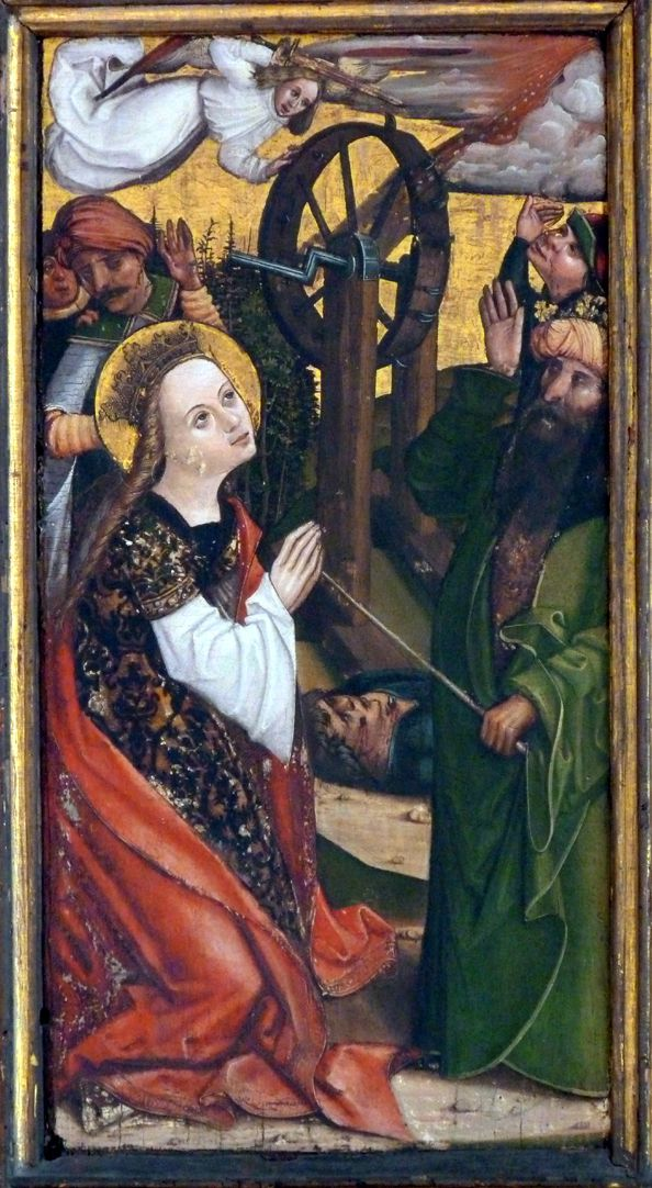 Katharinenaltar in St. Egidien linke Flügelinnenseite unten, Radwunder
