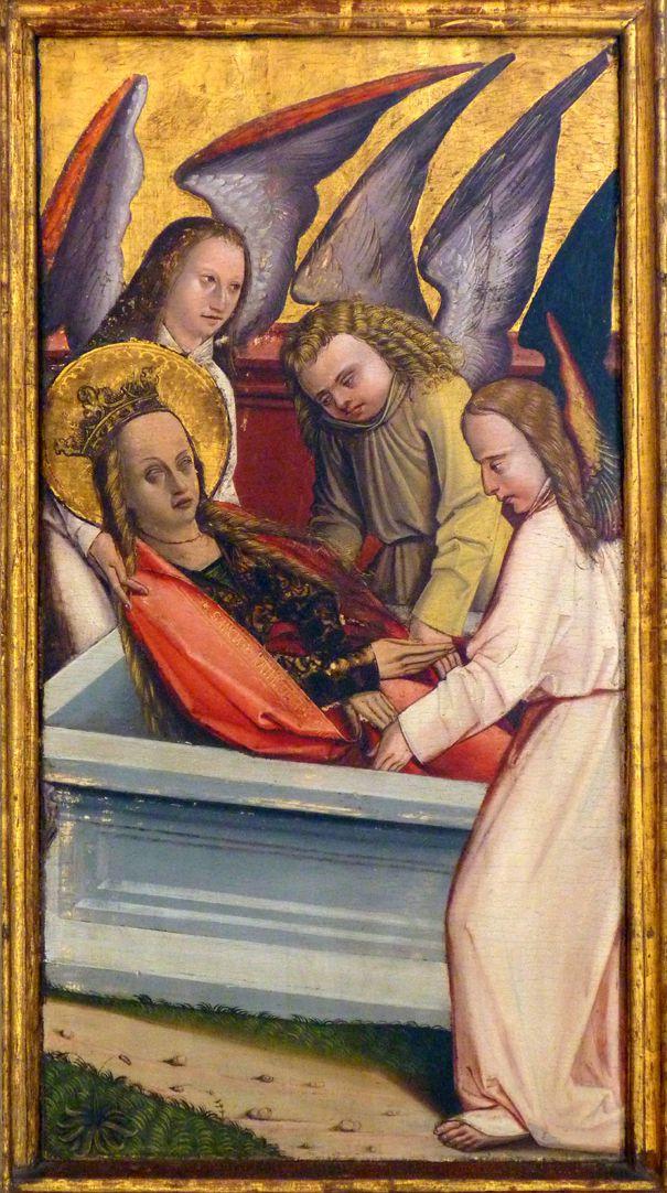 Katharinenaltar in St. Egidien rechte Flügelinnenseite oben, Katharina wird von Engeln in das Grab gelegt