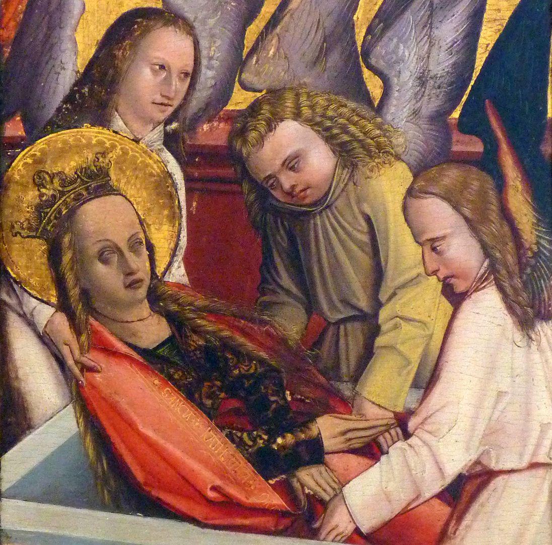 Katharinenaltar in St. Egidien Katharina wird von Engeln in das Grab gelegt, Detail