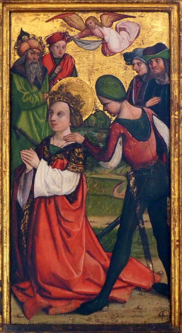 Katharinenaltar in St. Egidien rechte Flügelinnenseite unten, Vorbereitung zur Enthauptung der Heiligen