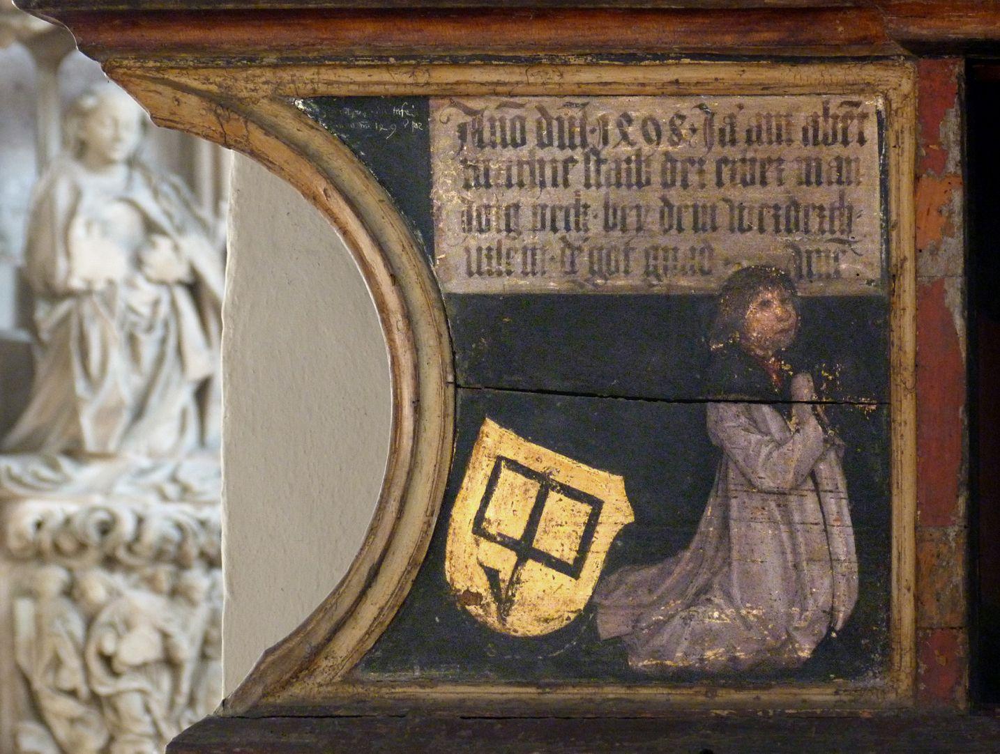 Katharinenaltar in St. Egidien Predella, Stifter Jörg Beck