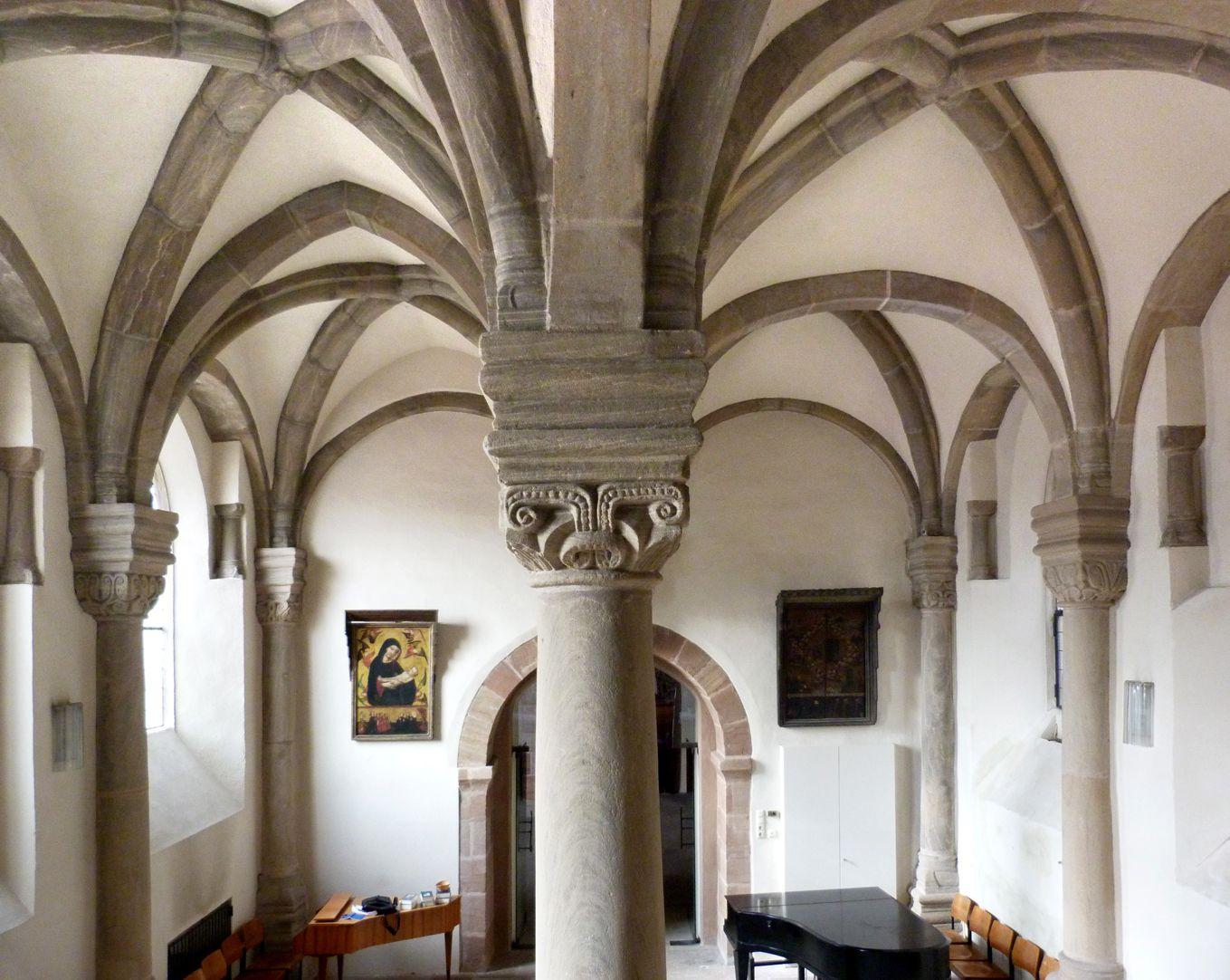 Euchariuskapelle Mittelstütze und Hallengewölbe von Ost nach West
