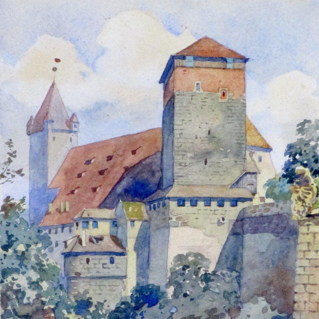 Nürnberger Fünfeckturm und Kaiserstallung obere Bildhälfte