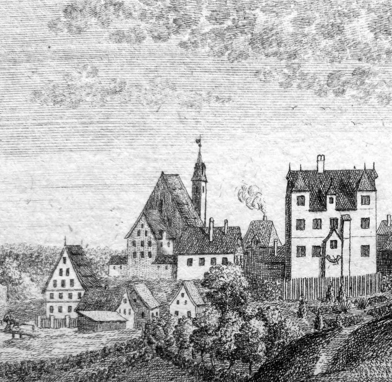 Prospect von Moegeldorf Kirche und Schloß