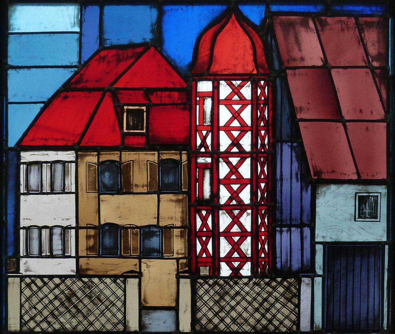 Glasfenster zur Stadtgeschichte Treppenaufgang zum zweiten Stock, Heuchling, Herrensitz (Eingemeindung 1978)