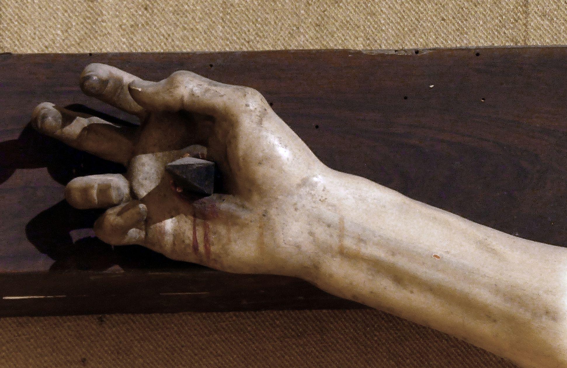 Kruzifixus Vom Nagel durchbohrte rechte Hand Jesu